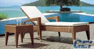 Durable PE Rattan Aluminum Beach Chair (GE-L0020)