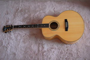 Log Color Acoustic Guitar with Solid Wood, Fully Handmade High Quality