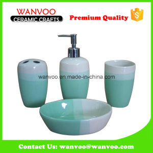 Green Cheap Ceramic Bathroom Accessories Bath Set pictures & photos