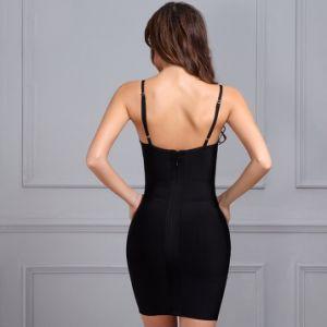 Slip Dress Black Dress Shiny V Neck Sleeveless Bandage Dress pictures & photos