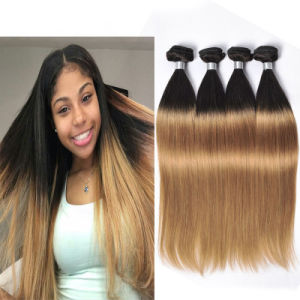 Peruvian 27 Straight Virgin Hair 4 Bundles Sale Cheap Ombre Blonde Bundles with Dark Roots Straight Human Hair Weave Bundles pictures & photos