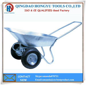Galvanized Metal Frame Garden Tools with Two Tyre Wheel Barrow pictures & photos