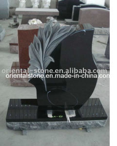 Black Granite Stone Tree Carving Headstone