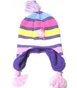 Custom Made Kid′s Children Cartoon Applique Embroidered Jacquard Striped Acryllic Beanie with Ear Flaps pictures & photos