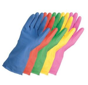 Cotton Flocked Household Latex Gloves/Rubber Cleaning Gloves with Good Quality (YYG-004) pictures & photos