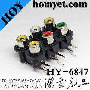 SMD Type 6 Ports RCA Socket with Six Holes (HY-6847) pictures & photos