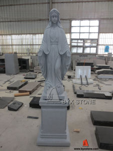 Blessed Virgin Mary Granite Carved Religious Statue with Pedestal Base pictures & photos