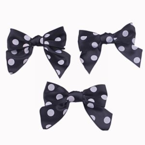 Black Satin with White Dots Ribbon Bow pictures & photos