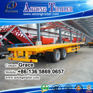 China Factory Tri-Axles Flatbed Container Semi Trailer on Sale pictures & photos