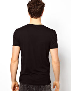 Custom Men′s Cheap Cotton Plain Black V Neck T Shirt pictures & photos