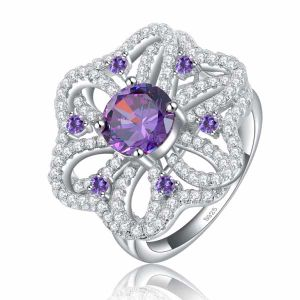 Misstypurple Zircon Micro Paved Big Size Flower Shape Silver Ring pictures & photos