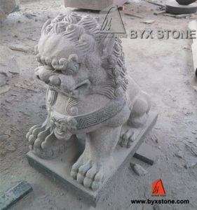 Hand Made Grey Granite Stone Lion Carving Sculpture for Garden pictures & photos