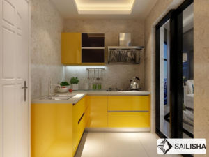 Yellow Modern Home Hotel Furniture Island Wood Kitchen Cabinet pictures & photos