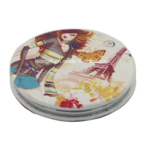 Fashion Round Leather Cosmetic Mirror for Promotion pictures & photos