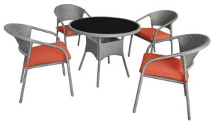 Steel Rattan Dining Set Outdoor Dining Round Table