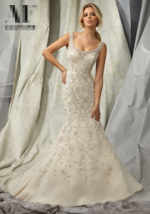 Beaded Lace Mermaid Bridal Wedding Gowns (WMA102) pictures & photos