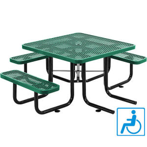 "46""Ada Square Expanded Metal Picnic Table Top and 3 Bench Seats"