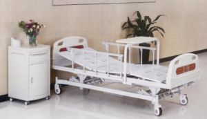 Hospital Bed, Three Cranks Manual Medical Bed with Rolling Dinner Table (XH-B-9) pictures & photos