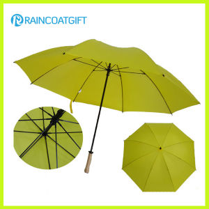 Promotional Windproof 30inch*8k Yellow Straight Golf Umbrella pictures & photos