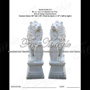 White Carrara Lion Sculpture for Garden Furniture Ma-615