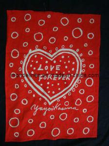 Red Color Heart Design Printing Linen Tea Towel