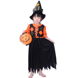 Children Witch Pumpkin Costume, Girl Witch Dress Cc011
