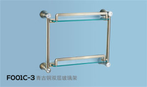Brass Glass Double Towel Shelf (F001-2G) pictures & photos