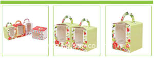 Custom Logo Color Printing Cupcake Box with PVC Window pictures & photos