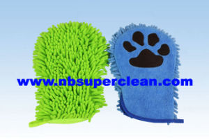 Microfiber Chenille Fingerless Gloves with Embroidery (CN1416) pictures & photos