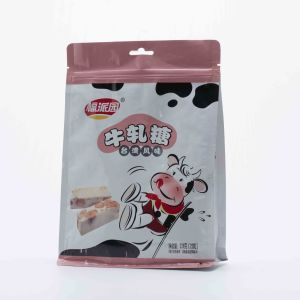 Flat Bottom Quad Pouch with Clear Gusset for Oat Chocolate Confectionary Candy pictures & photos