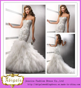 2014 New Styles Luxury Mermaid Sweetheart Beaded Bodice Layered Organza Skirt, Bridal Wedding Dress (MN1077) pictures & photos