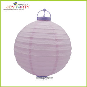 Plastic Base Battteries Paper Lantern with LED Light