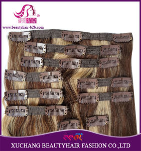 "Hot Sale Wholesale Price 7A Quality Indian Virgin Remy Straight Thick Full Head Clip in Hair Extension 20"" pictures & photos"