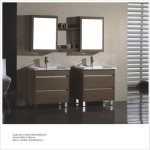 Side-by-Side Double Cabinet MDF Bathroom Vanity with Mirror for Hotels pictures & photos