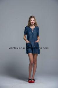 Ladies Dress 100% Cotton Summer Fashion Belt Jean Blue Famous pictures & photos