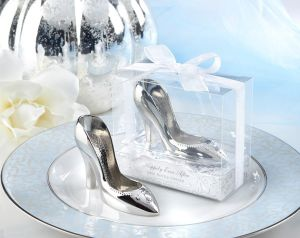 "a Perfect Fit! "" Chrome Slipper Opener Wedding Favors Party Gifts Wedding Centerpieces Giveaway"