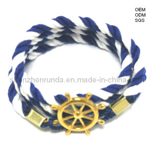 Fashion Cotton Bracelet with Gold Plated/ Stainless Steel Sailor Anchor Hook Bracelet with SGS Approved (RD-EB0010)