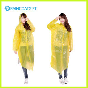 Long Sleeve Yellow PE Women′s Raincoat pictures & photos