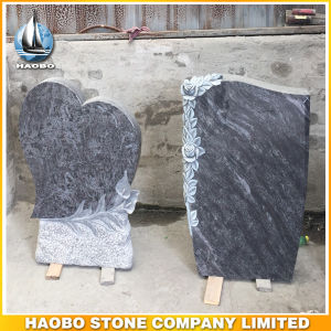 Bahama Blue Granite Headstones Floral Carving Gravestone pictures & photos