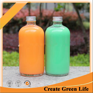 16oz Round Drinking Glass Bottle, Cold Pressed Juice Bottle with Aluminum Cap pictures & photos