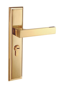 Gold Plated Finish Solid Brass Hotel Door Handle Lock pictures & photos