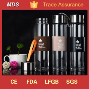 Customized Logo Portable Glass Drinking Water Bottles for Parties pictures & photos
