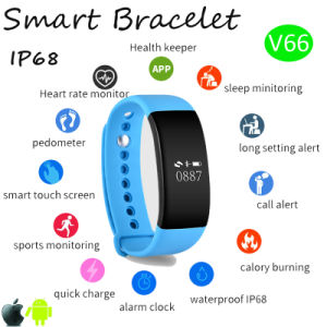 IP68waterproof Sport/Bluetooth Wristband Smart Bracelet with Fitness Function V66 pictures & photos