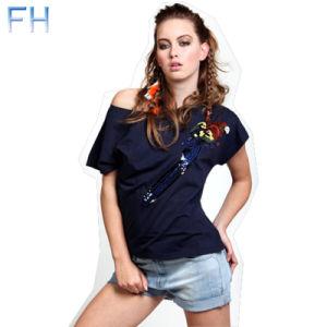 Ladies Fashion Woven Sequis T-Shirt