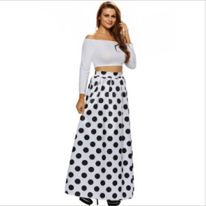 Polka Dots Floral High-Waist Elastic Pleated Fashion A-Line Long Skirt pictures & photos