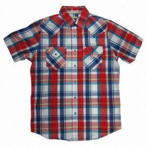 100% Cotton Y/D Check Men′s S/S Shirt