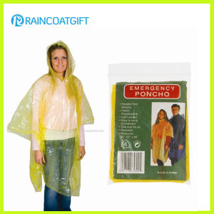 Yellow Cheap Disposable Women′s Rain Poncho pictures & photos