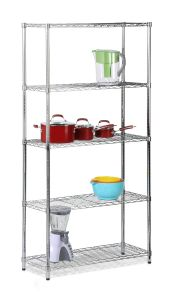 NSF Approval 5 Tiers Home Kitchen Pot Storage Steel Chrome Wire Rack pictures & photos