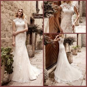 High Neck Bridal Gowns Mermaid Lace Wedding Dresses Z5037 pictures & photos