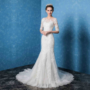 2017 Half Sleeves Lace Mermaid Fashion Long Bridal Wedding Dress pictures & photos